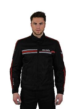 NERVE 1510130101_02 Swift Blouson Moto, Noir/Rouge, Taille : S