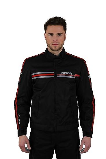 NERVE 1510130101_04 Swift Blouson Moto, Noir/Rouge, Taille : L