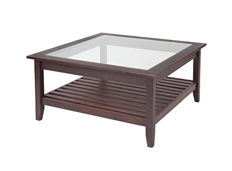 Manchester Wood Glass Top Square Coffee Table - Chestnut
