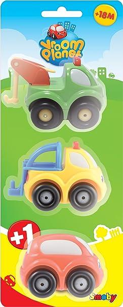Smoby Toys - 211267 - Jouet de Premier Age - Vroom Planet - 3 Mini Bolides - 2 à Thèmes + 1 Standard - 3 Assortiment - Modèle aléatoire