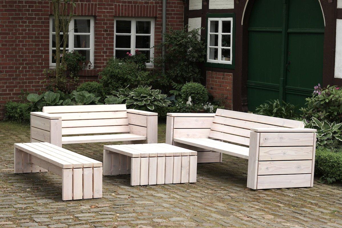 binnen-markt Lounge Gruppe 2 Heimisches Holz Douglasie Weiß Geölt