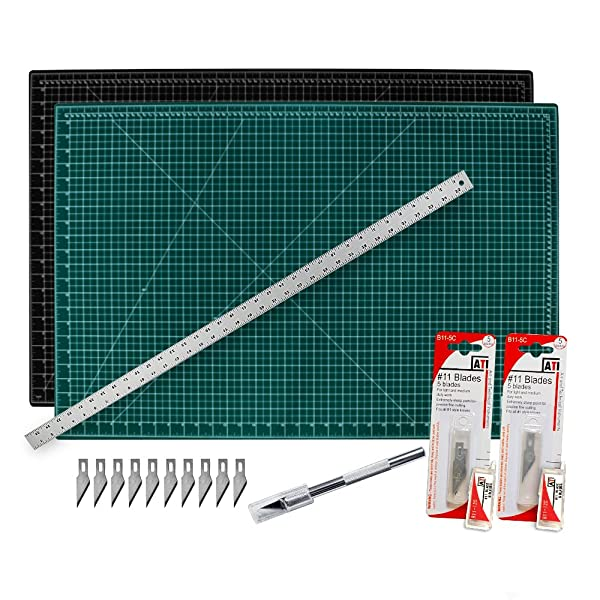 WA Portman Cutting Mat Craft Knife Precision Ruler Set I 9x12 inch Self Healing Mat I Hobby Knife I 10 Replacement Blades I 12 inch Premium Steel Ruler I for Crafts Model Kits Paper Plastic Fabric (Tamaño: 12 x 9)