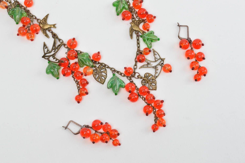 Schmuck Set handgemacht Halskette Damen lange Ohrringe Mode Accessoires elegant günstig kaufen