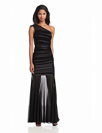 HALSTON HERITAGE Women's Evening Dress with Velvet Stripes and Sheer Skirt, Black, 10