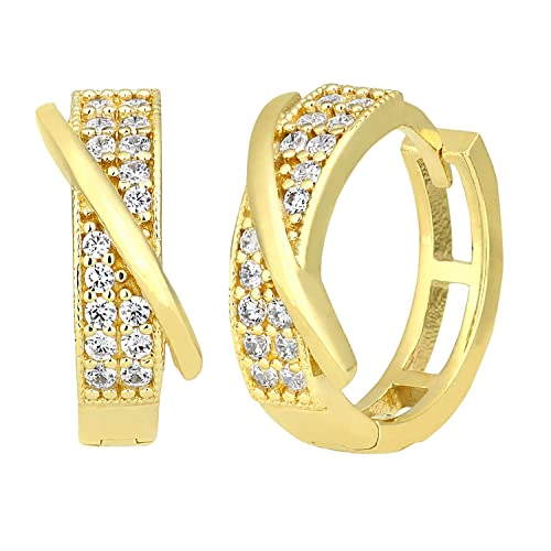 Citerna 9 ct Yellow Gold Hoop Earrings with CZ Stone in Kiss Design