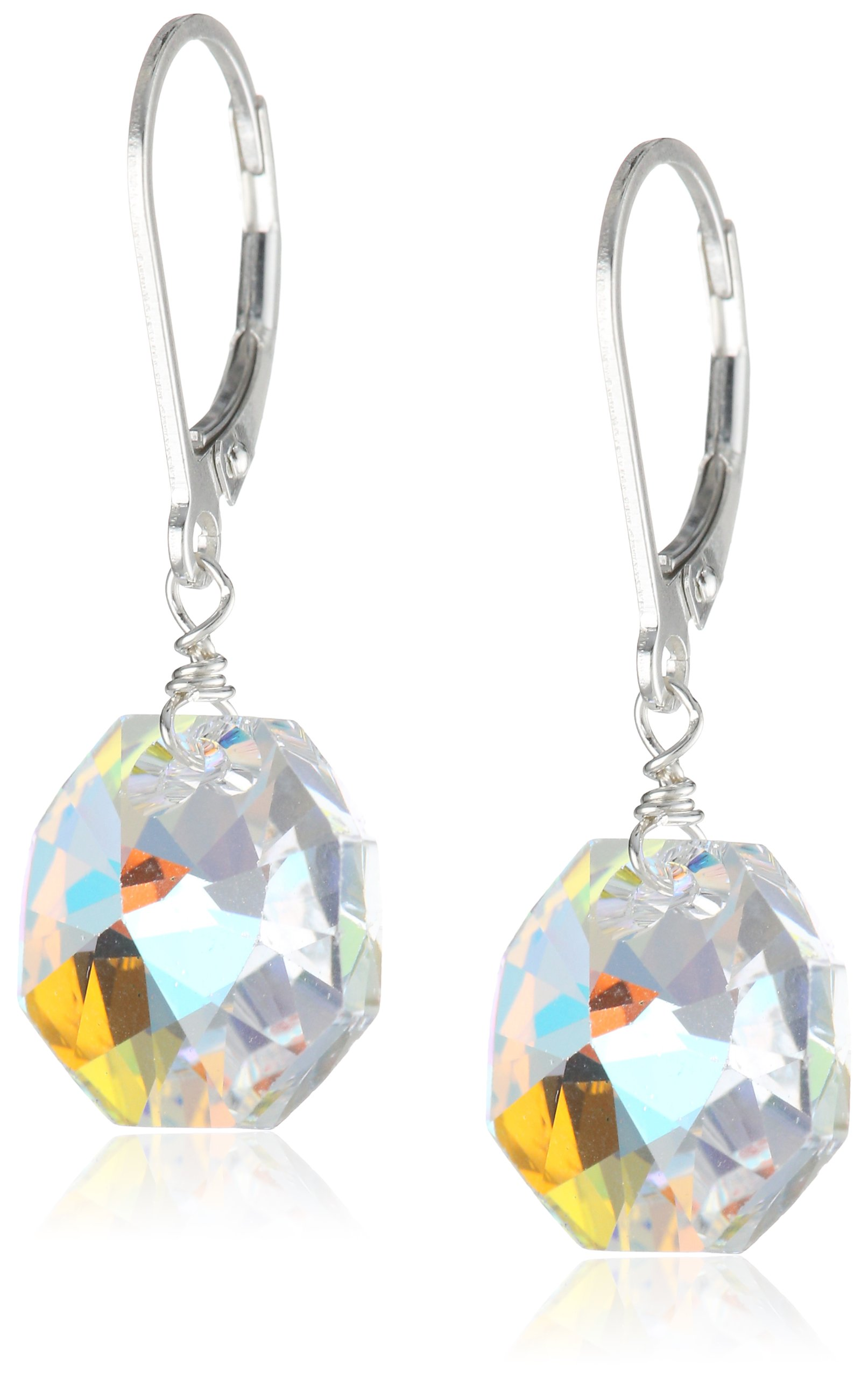 Sterling Silver Aurora Borealis Octagon Earrings image