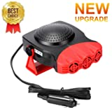 Portable Car Heater,Car Heater that plugs into cigarette lighter Car Defroster Car Defogger 150W 12 volt heater for automobile Heating/Cooling 2 in i Function 3-Outlet (Color: Red)