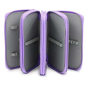 BTSKY Handy Wareable Oxford Colored Pencil Case 72 Slots Pencil Organizer (Purple) (Color: Purple)