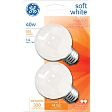 GE Lighting 31110 Soft White 31110 40-Watt, 330-Lumen G16.5 Light Bulb with Medium Base, 2-Pack