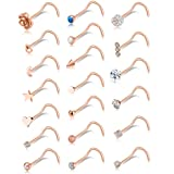Tornito 20G 20Pcs Nose Ring CZ Nose Stud Retainer Screw Labret Nose Piercing Jewelry Set Stainless Steel Rose Gold Tone (Color: F:20Pcs,Screw Shaped, Rose Gold Tone)