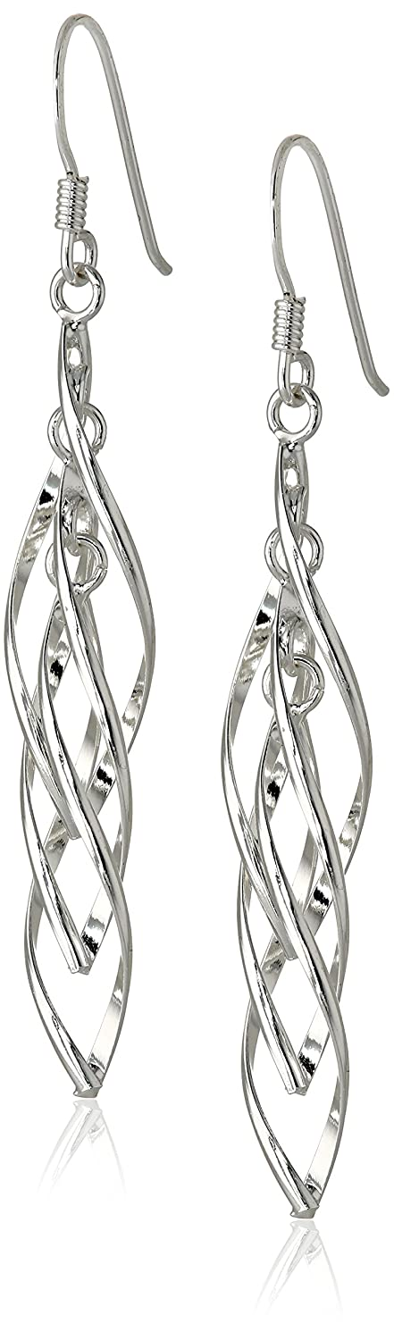 Sterling Silver Linear Swirl French Wire Earrings: Dangle Earrings