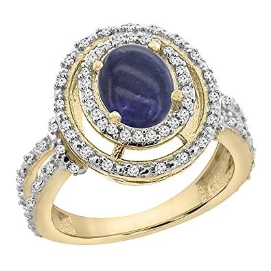14ct Yellow Gold Natural Lapis Ring Oval 8x6 mm Double Halo Diamond, size L
