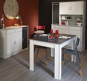Kuchenmöbel komplett 3-teilig weiß, Schrank + Anrichte + Tisch, Esszimmer Cosina 7
