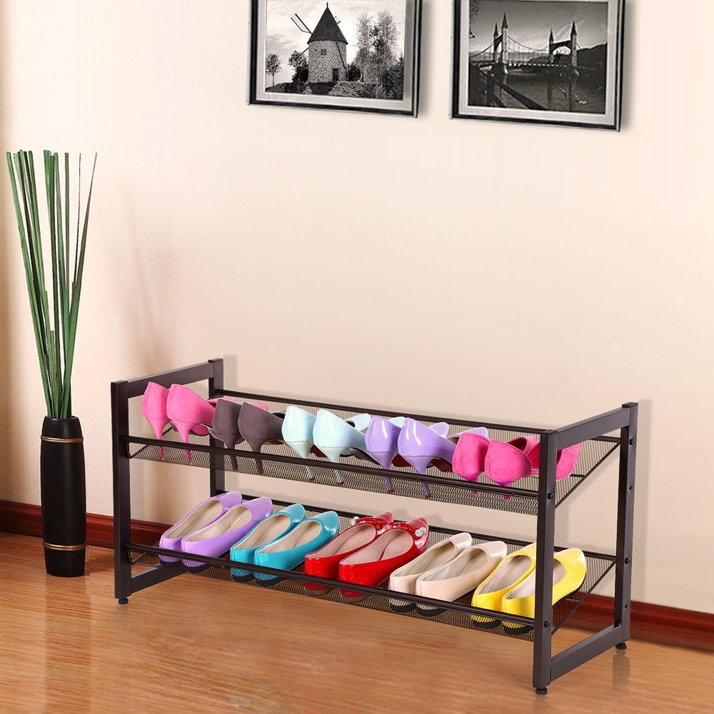Songmics 2 Tier Stackable Metal Shoe Rack Flat Amp Slant