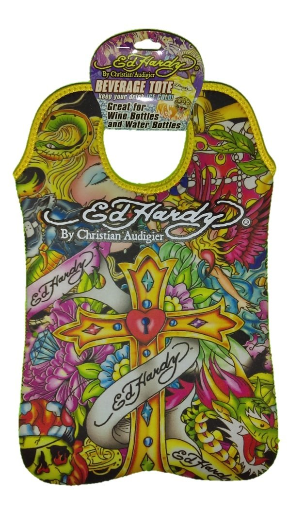 Ed Hardy Designs By Christian Audigier Neoprene Two-Bottle Wine Beverage Tote (Tattoo Cross)