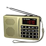 TIVDIO L-258 AM FM Shortwave Transistor Radio Support Micro TF Card and USB Driver AUX Input MP3 Player USB Charging Cable 1000MAH Rechargeable Li-ion Battery(Gold) (Color: Gold)