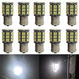 JAVR - Pack of 10 - 6500K White 1156 BA15S 1141 1003 1073 7506 LED Bulbs 5050 27-SMD Replacement Lamps for 12V Interior RV Camper Trailer Lighting Boat Yard Light Brake Tail Bulbs (Color: White)