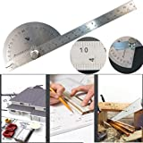 DZT1968 Good Stainless Steel 0-180° Protractor Angle Finder Arm Measuring Ruler Tool for carpentry (Color: A, Tamaño: 10PC)