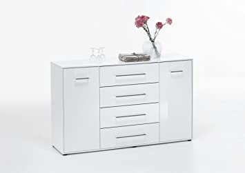 "FMD ""JULI 6 UP"" Chest, Wood, High Gloss White"