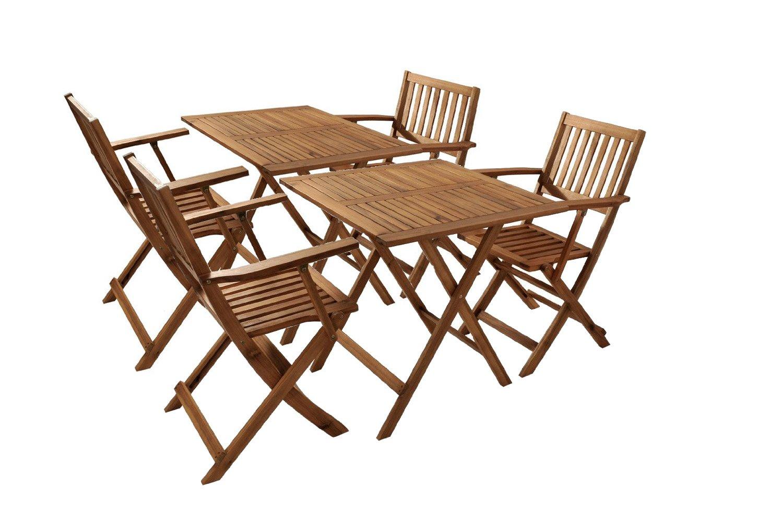 Doppeltes Gartenmöbel Set 2 Camelia aus Akazienholz 6tlg für Balkon Terrasse oder Garten mit 2 Klapptischen 70×70 cm und 4 Klappstühlen günstig