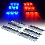 Xprite Red Blue 36 LED Patrol Series Emergency Vehicle Strobe Warning Lights/Lightbars For Deck Dash Grill Windshield Headliner (Color: Red & Blue)