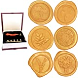 Wax Stamp Seals, Botokon Vintage Retro Flora Series Wax Seal Stamp Kit Classic Sealing Wax Stamp Set, Great for Cards Envelopes, Invitations, Wine Packages, Gift Wrapping (Color: Botanical Wax Stamp Seals)