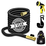 XpandaHose 75ft Expandable Water Garden Hose with Holder - Heavy Duty Triple Layered Latex Core and Free 10 Spray Nozzle with Storage Bag - Light Weight Flexible and Solid Brass Ends (Color: Black, Tamaño: 75 Foot)