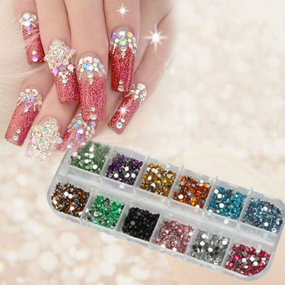 1200pcs New Nail Art Rhinestones Glitters Acrylic Tips Decoration Manicure Wheel