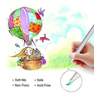 Brush Pens Set, MaleDen 10 Color Super Markers Watercolor Soft Flexible Brush Tip Pens Set, Broad Lines for Painting, Calligraphy, Lettering