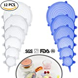 Farielyn-X Silicone Stretch Lids (12 Pack,Double Color,Various Size), Reusable Durable and Expandable Lids, Eco-friendly Stretch for Container, Bowl and Cup in Dishwasher, Refrigerator and Microwave (Color: 12 Pack, Tamaño: Large)