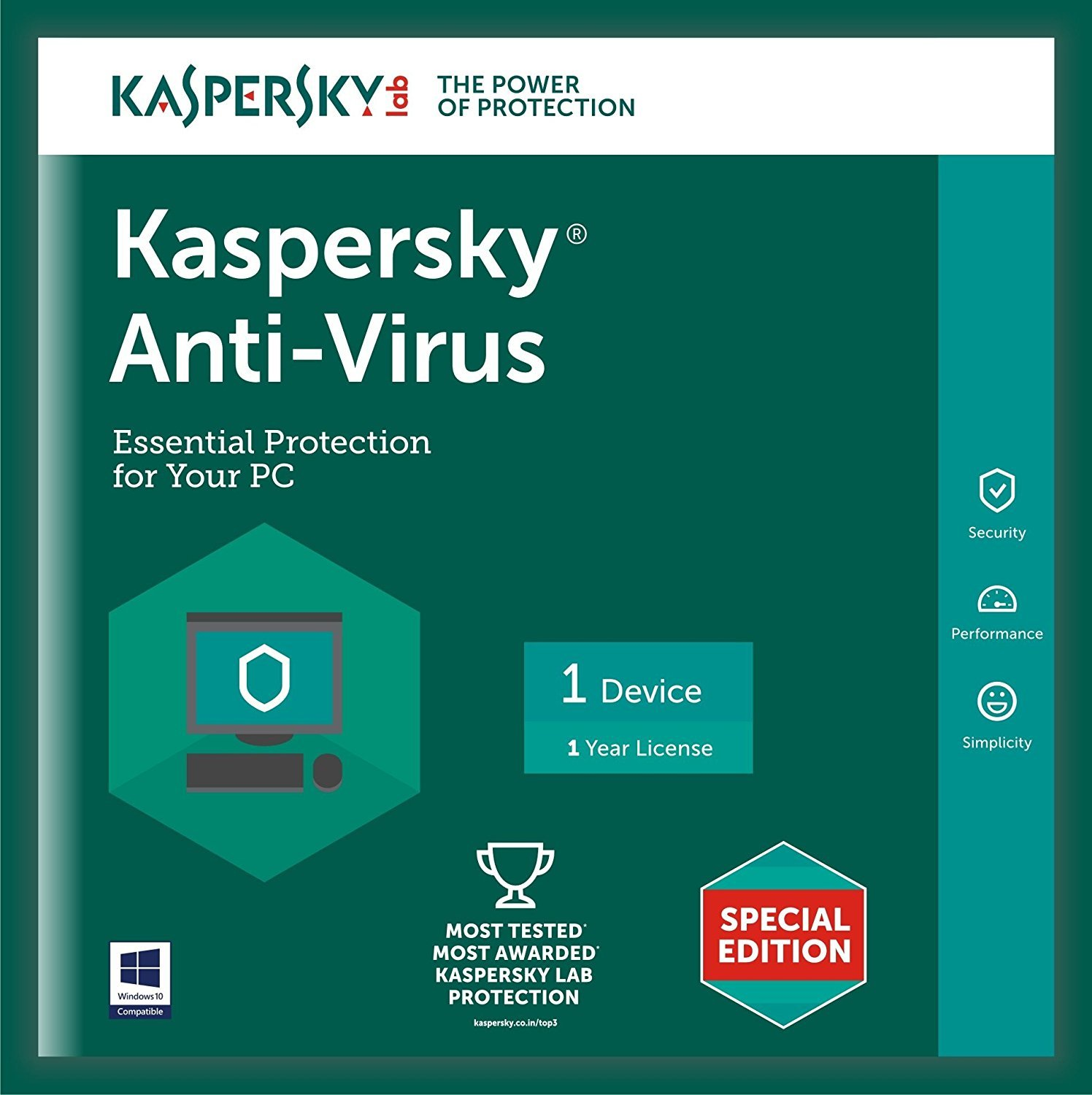 Kaspersky Anti-Virus Latest Version - 1 PC, 1 Year (CD) By Amazon @ Rs.248