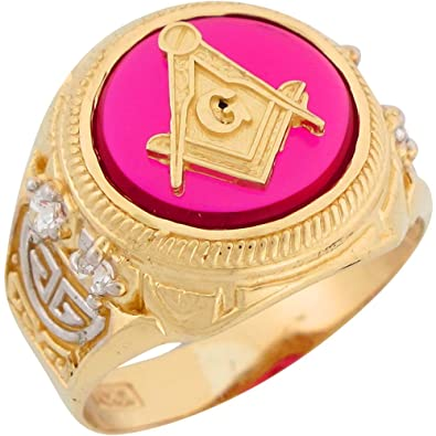 9ct Two Colour Gold Synthetic Ruby Freemason Masonic Mens Ring
