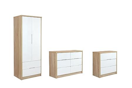 Sen Furniture Antigua Trio Set, White/Oak Brown