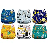 Mama Koala One Size Baby Washable Reusable Pocket Cloth Diapers, 6 Pack with 6 One Size Microfiber Inserts (Hit The Road) (Color: Hit the Road, Tamaño: One Size)