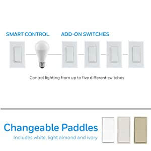 Honeywell Add-On In-Wall Paddle Switch only for Honeywell Smart Lighting Controls | NOT A STANDALONE SWITCH | Ivory, White & Light Almond Paddles | for 3 4 & 5-Way Multi-Location Installations, 38225 (Color: Ivory, White & Light Almond, Tamaño: Add-On Switch)