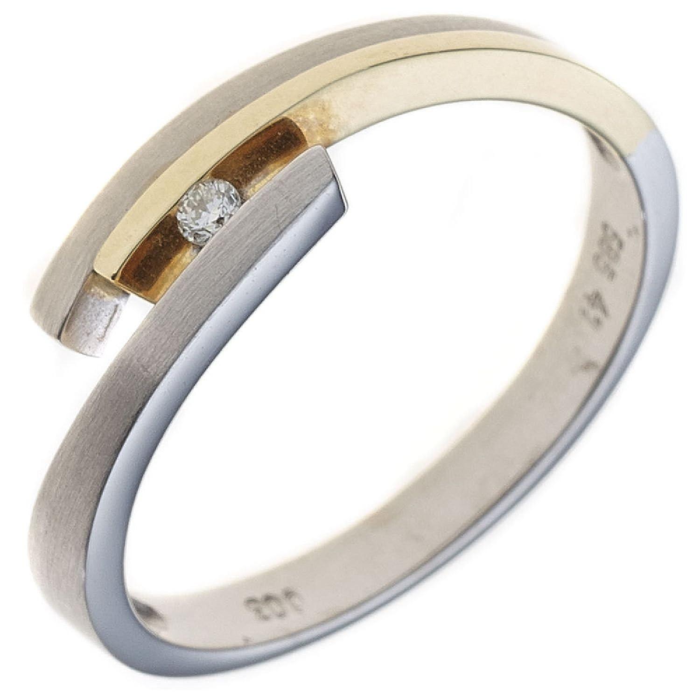 Damen Ring 585 Weißgold Gelbgold teilmattiert 1 Diamant Brillant günstig