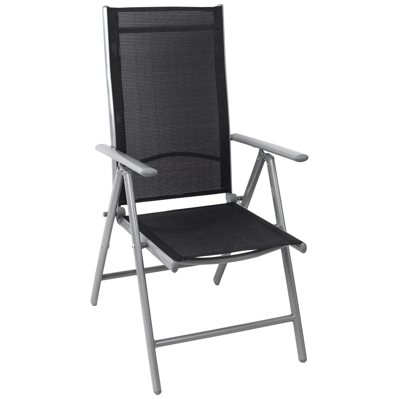 Aluminium Hochlehner, hochwertige 4x4 Textilenbespannung, 8-fach verstellbar, klappbar, Silber/Schwarz - Gartenstuhl Liegestuhl Positionsstuhl Klappstuhl Balkonmöbel Gartenmöbel Terrassenmöbel