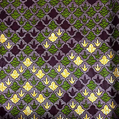 African Print Fabric Cotton Print Shrub 44'' wide By The Yard Purple Green Yellow