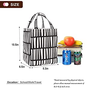Buringer Insulated Lunch Bag with Inner Pocket Printed Canvas Fabric Reusable Cooler Tote Box for Ladies Woman Man School Work Picnic Upgraded Black and White Stripes