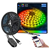 DreamColor LED Strip Lights with APP, Minger 6.6FT/2M 5V USB Light Strip Built-in Digital IC, 5050 RGB Light Color Changing with Music IP65 Waterproof Led String Lights Kit, LED TV Backlight Strip (Color: Dreamcolor Rgb With App)