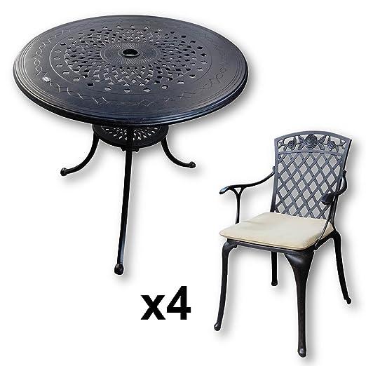 Lazy Susan - ANNA 80 cm Runder Gartentisch mit 4 Stuhlen - Gartenmöbel Set aus Metall, Antik Bronze (ROSE Stuhle, Beige Kissen)