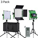 LED Video Lights GVM 520 3-Packs Professional Metal Bi-Color for Studio, Wireless Remote Control, LCD Panel,Professional Video Shooting, Durable Metal Frame, 3200-5600K, CRI 97+ (Tamaño: 3pack-green)