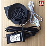 Replacement Fan Blower for Gemmy Inflatable with 32 inch light string - 0.5a with 12v/0.67a Adapter - Model JDH7530S (Color: black, Tamaño: black)