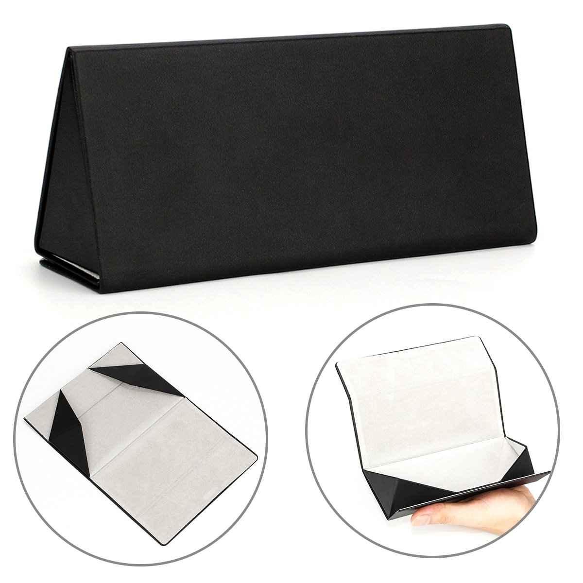 Folding Eyeglasses Case,Ezeso Portable Ultralight Retro Spectacles Box For Men Women 0