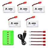 Noiposi 5 pcs 3.7v 680mah 20c Upgrade Lipo Battery with X6 Charger for Syma X5HC X5HW RC Quadcopter