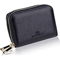 Shanshui Rfid Blocking Primely Genuine Leather Wallet with 2 Metal Zipper 12 Card Slots(Black)