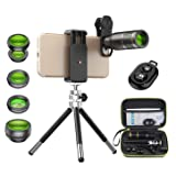 Apexel Cell Phone Camera Lens Kit -Remote Shutter+ Phone Tripod+ 6 in 1 Phone Lens -Metal 16X Telephoto Zoom Lens/Wide Angle/Macro/Fisheye/Kaleidoscope/CPL for iPhone X 8 7 6 Plus Samsung Smartphone (Color: Black)