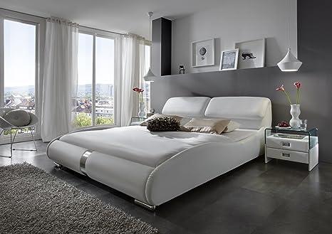 SAM® Design Polsterbett Lecce in weiß 200 x 220 cm Liegefläche mit Überlänge geschwungene Seitenteile Chromleiste an Kopf - und Fuß teil Kopfteil aufklappbar Wasserbett geeignet Bett