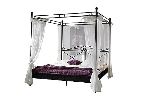 XXS® Design Himmelbett Venezia aus schwarzem Metall 180 x 200 cm