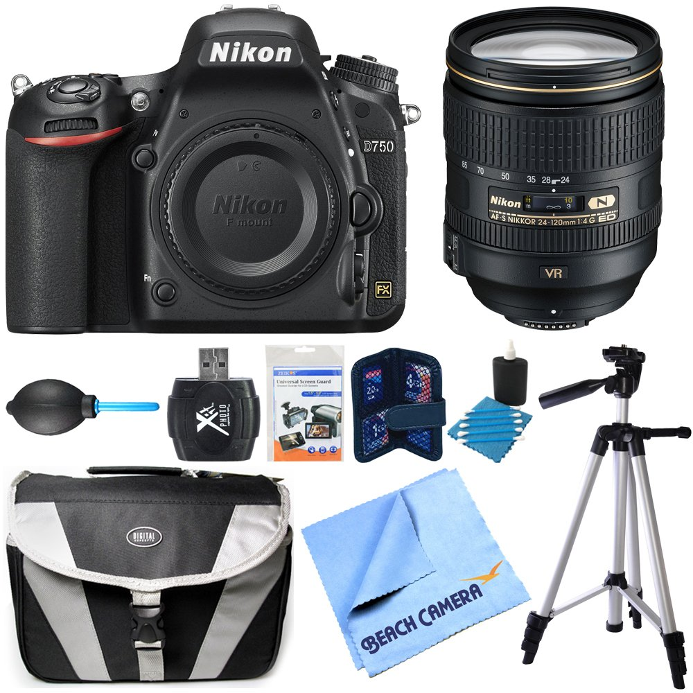 D750 DSLR 24.3MP HD 1080p FX-Format Camera Body 24-120mm NIKKOR Lens Bundle includes D750 DSLR Camera Body, 24-120mm NIKKOR Lens, Compact Bag, Tripod, Card Wallet, Dust Blower, Card Reader, Cleaning Kit, Screen Protectors and Micro Fiber Cloth